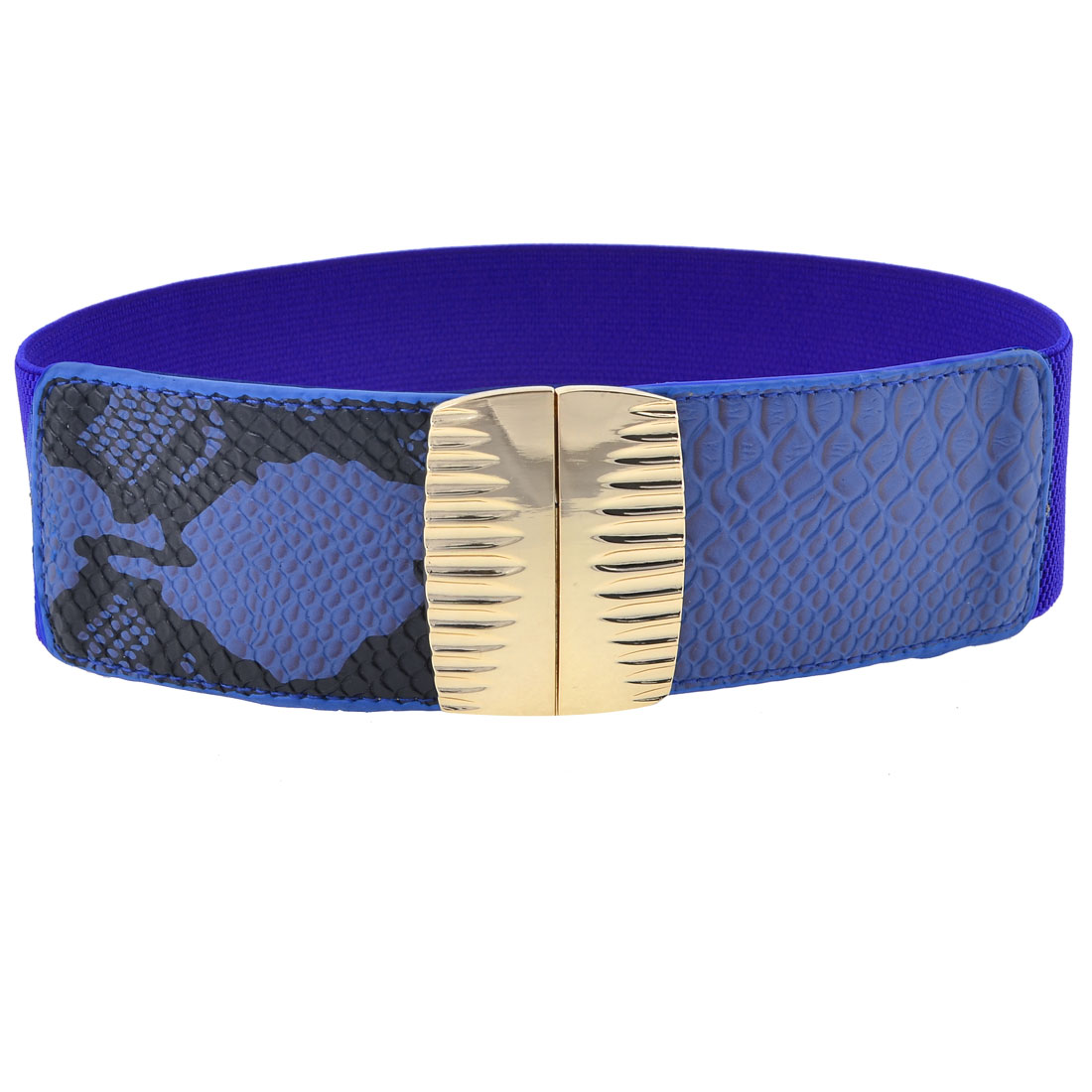 Ladies Blue Snake Print Faux Leather Interlock Buckle Stretch Waistbelt Band