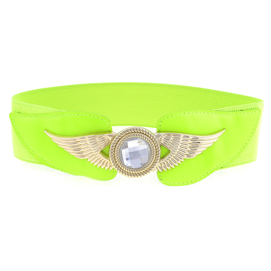 Women Eagle Faux Crystal Metal Interlock Buckle Stretchy Waist Belt Light Green