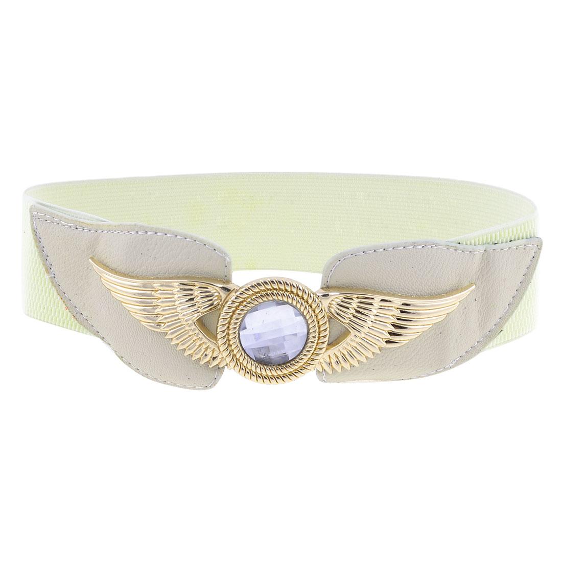 Eagle Crystal Metal Interlocking Buckle Elastic Off White Waist Belt for Ladies