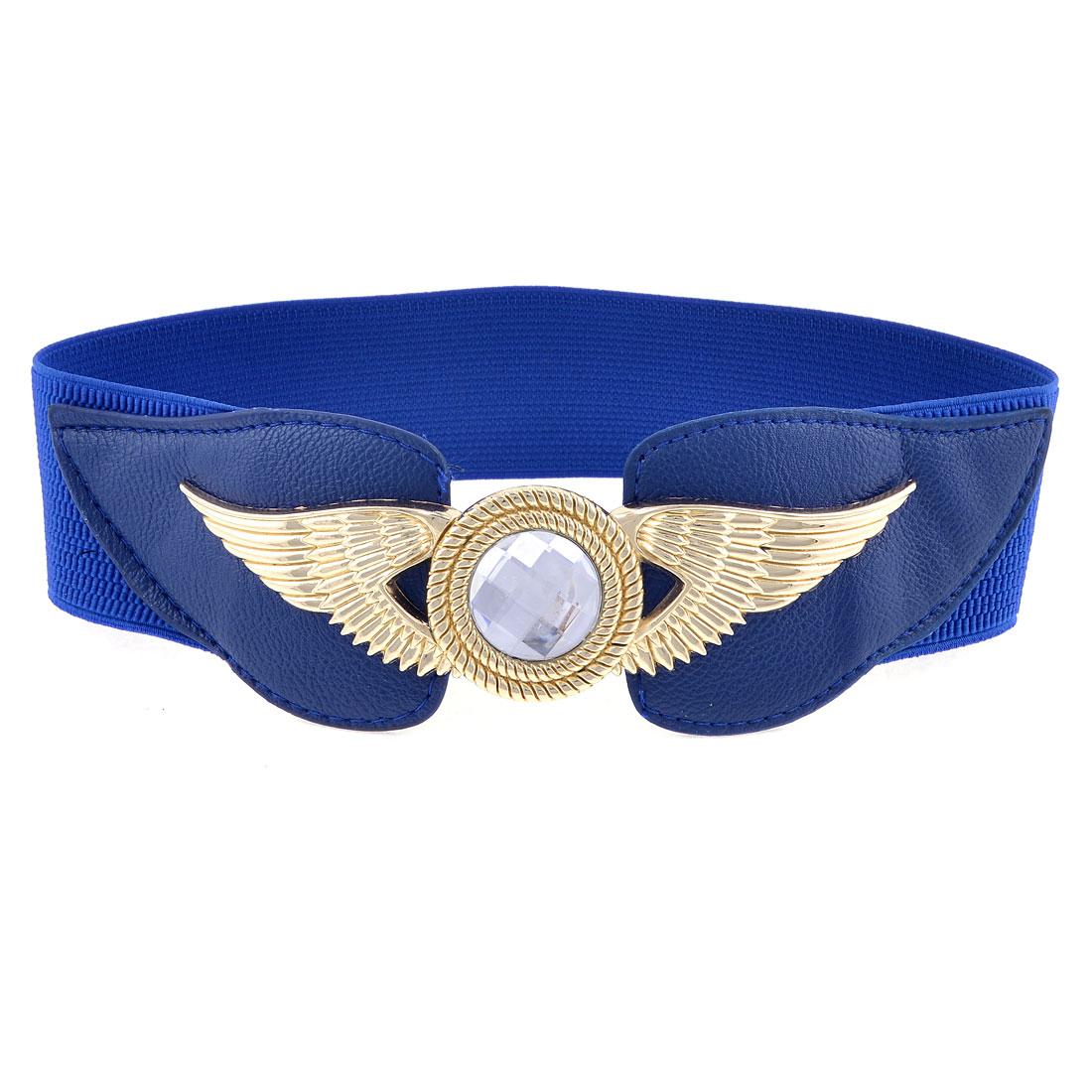Gold Tone Metal Interlock Buckle 6cm Width Dark Blue Spandex Cinch Belt for Lady