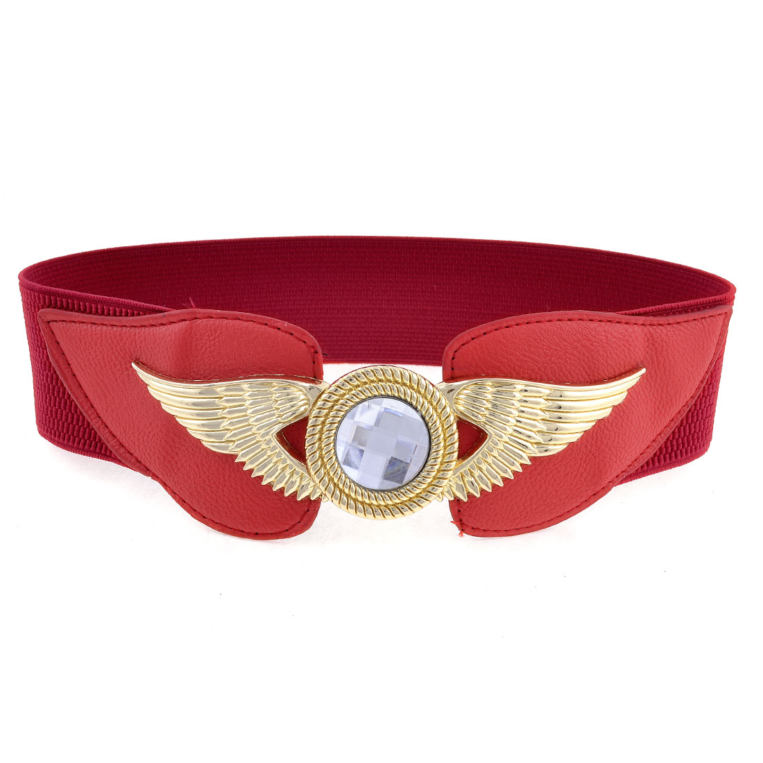 Ladies Glittery Plastic Crystal Eagle Design Buckle Spandex Waist Belt Dark Red