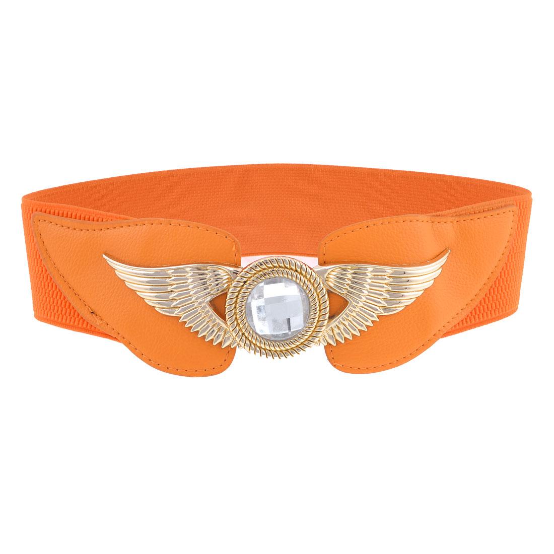 6cm Wide Band Metal Interlocking Buckle Orange Elastic Cinch Belt for Lady