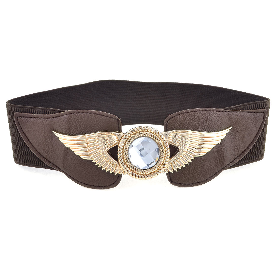 Women Bling Faux Crystal Eagle Design Buckle Stretchy Waist Belt Dark Brown