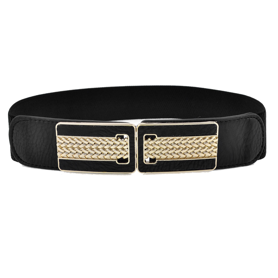 Black Rectangle Shape Woven Pattern Interlock Buckle Elastic Cinch Belt for Lady