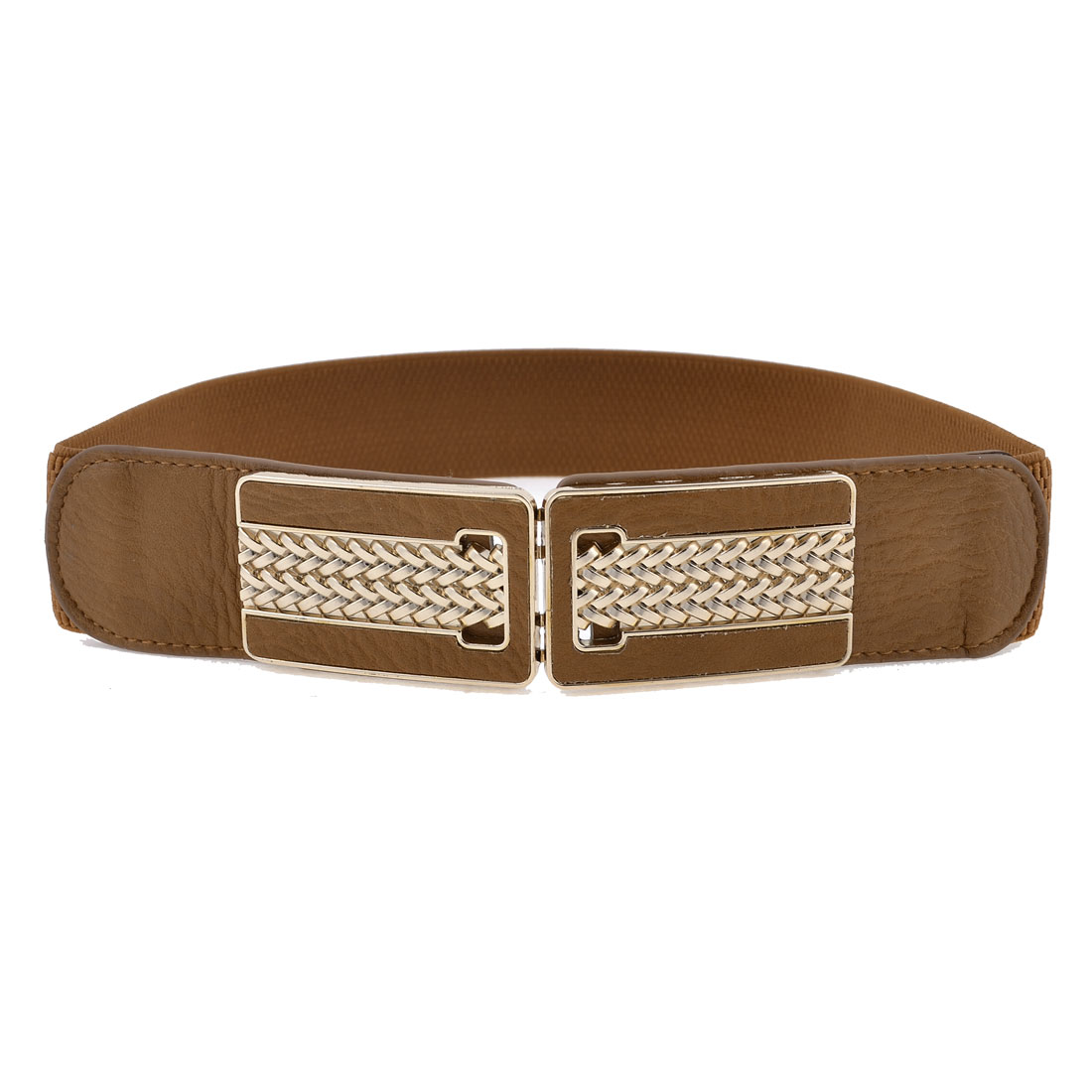Brown Faux Leather Front Metal Frame Interlock Buckle Stretch Waist Belt Band