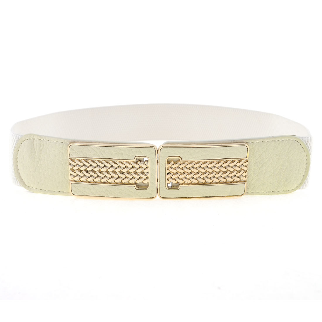 Lady 3.8cm Wide Rectangle Shape Interlock Buckle Elastic Cinch Belt Off White