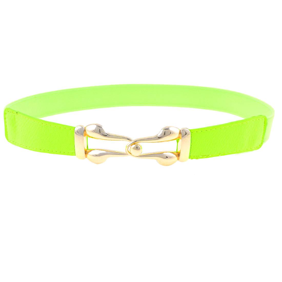 Metal Interlock Buckle 2.5cm Width Light Green Flexible Waist Belt Band for Lady