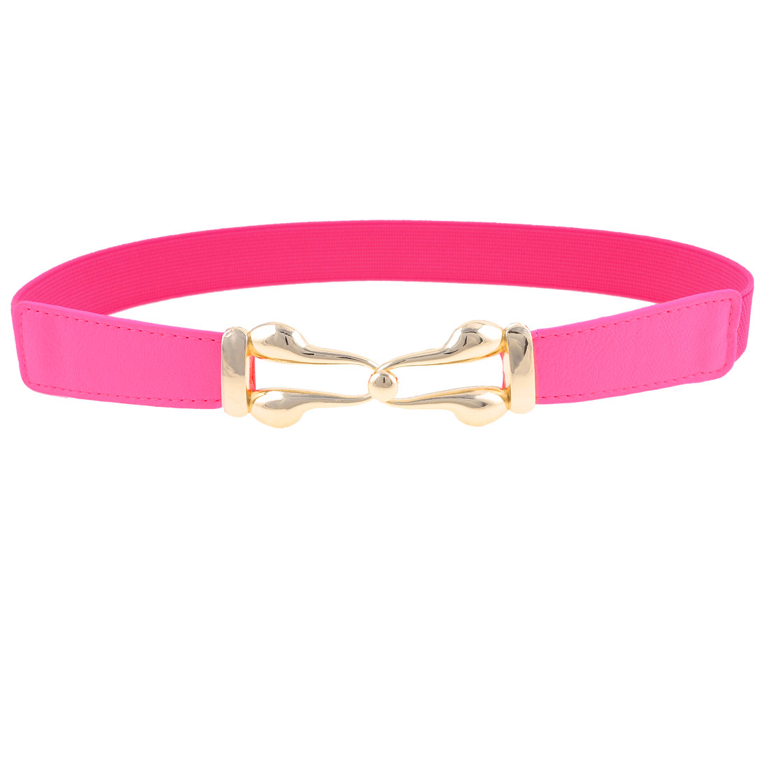 Lady Hot Pink Faux Leather Front Metal Interlocking Buckle Elastic Waist Belt