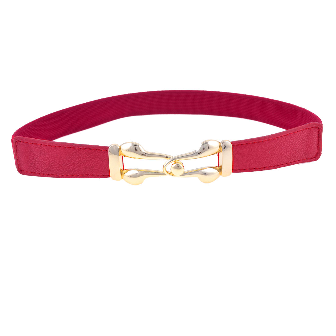 Women 2.5cm Width Gold Tone Interlock Buckle Dark Red Stretchy Waist Belt Band