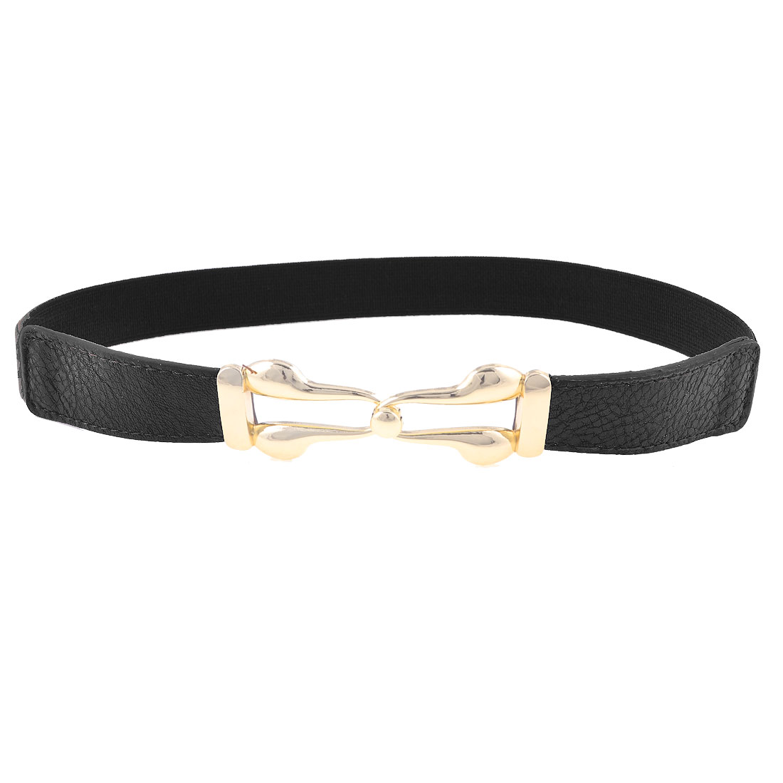 Lady Black Faux Leather Front Metal Interlocking Buckle Elastic Waist Belt