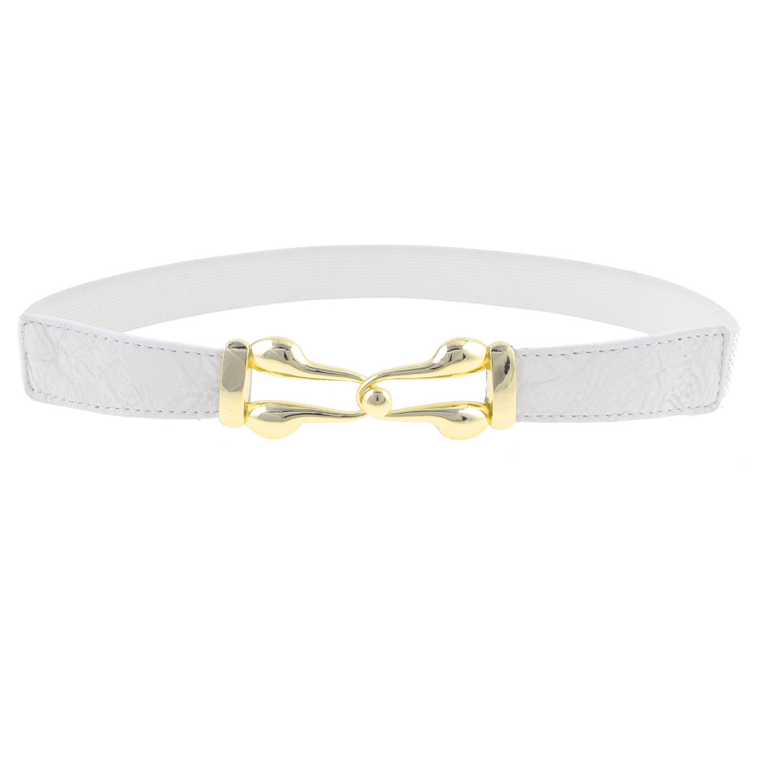 Faux Leather Front Metal Interlock Buckle White Stretch Waist Belt for Ladies