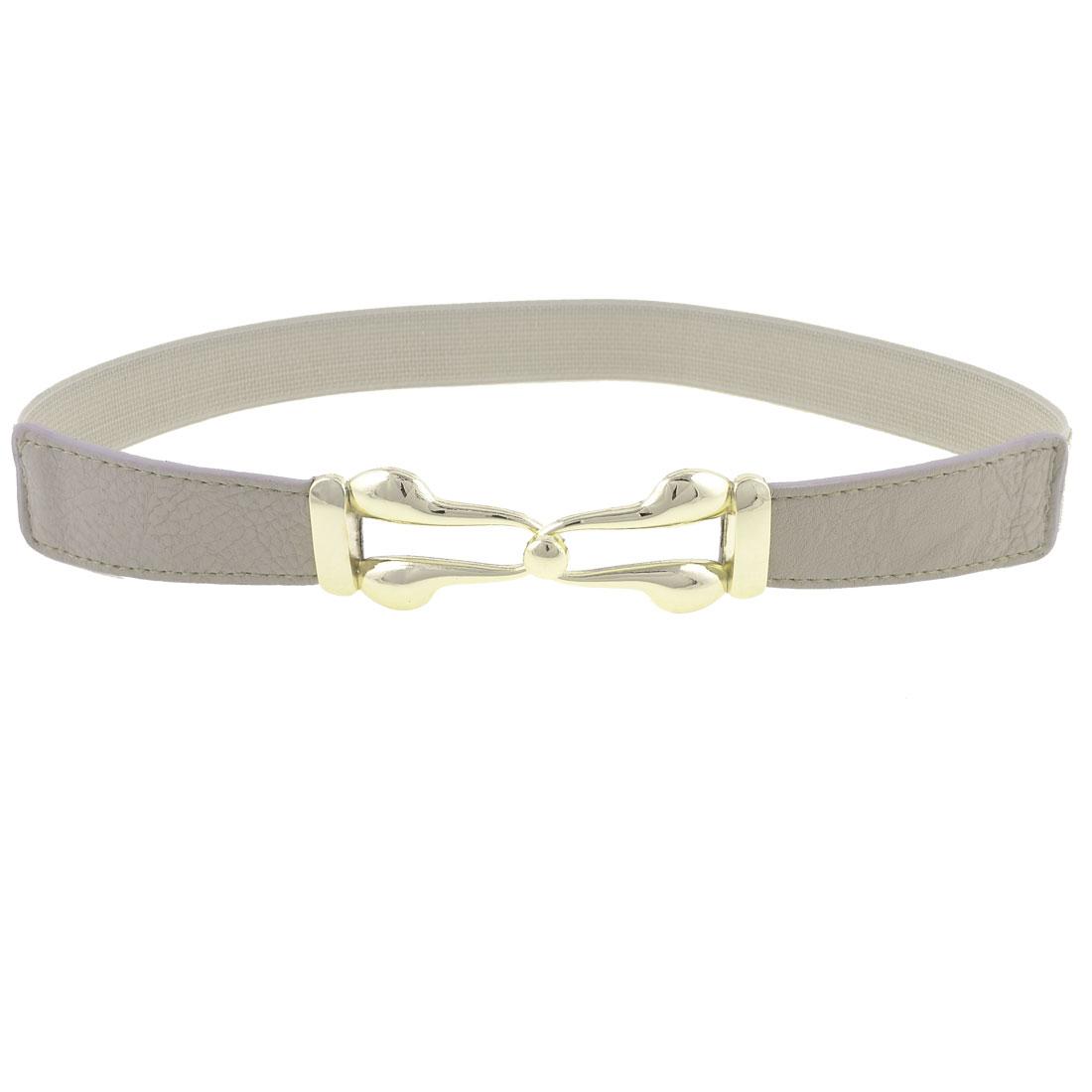 Lady Metal Interlock Buckle Faux Leather Decor Stretch Waist Belt Gray