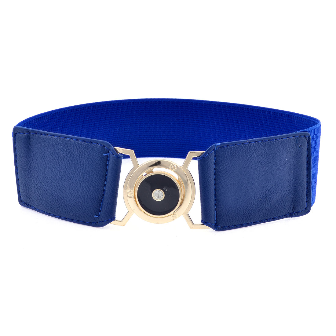 Faceted Plastic Crystal Decor Interlock Buckle Blue Textured Stretch Waist Belt