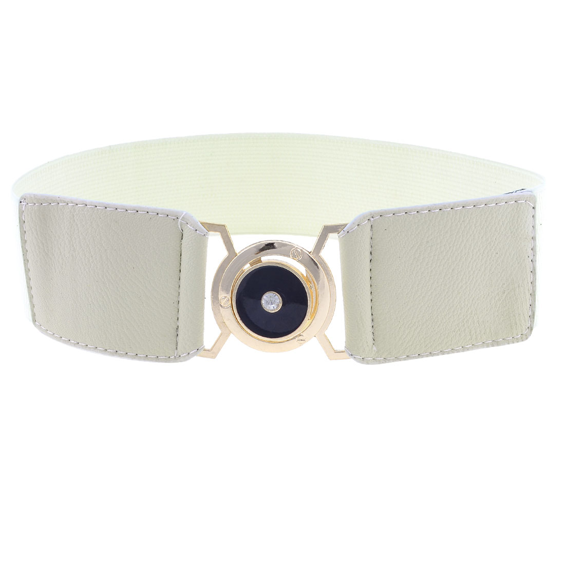 Off White Faux Leather Front Interlock Buckle Stretchy Belt Waistband for Ladies