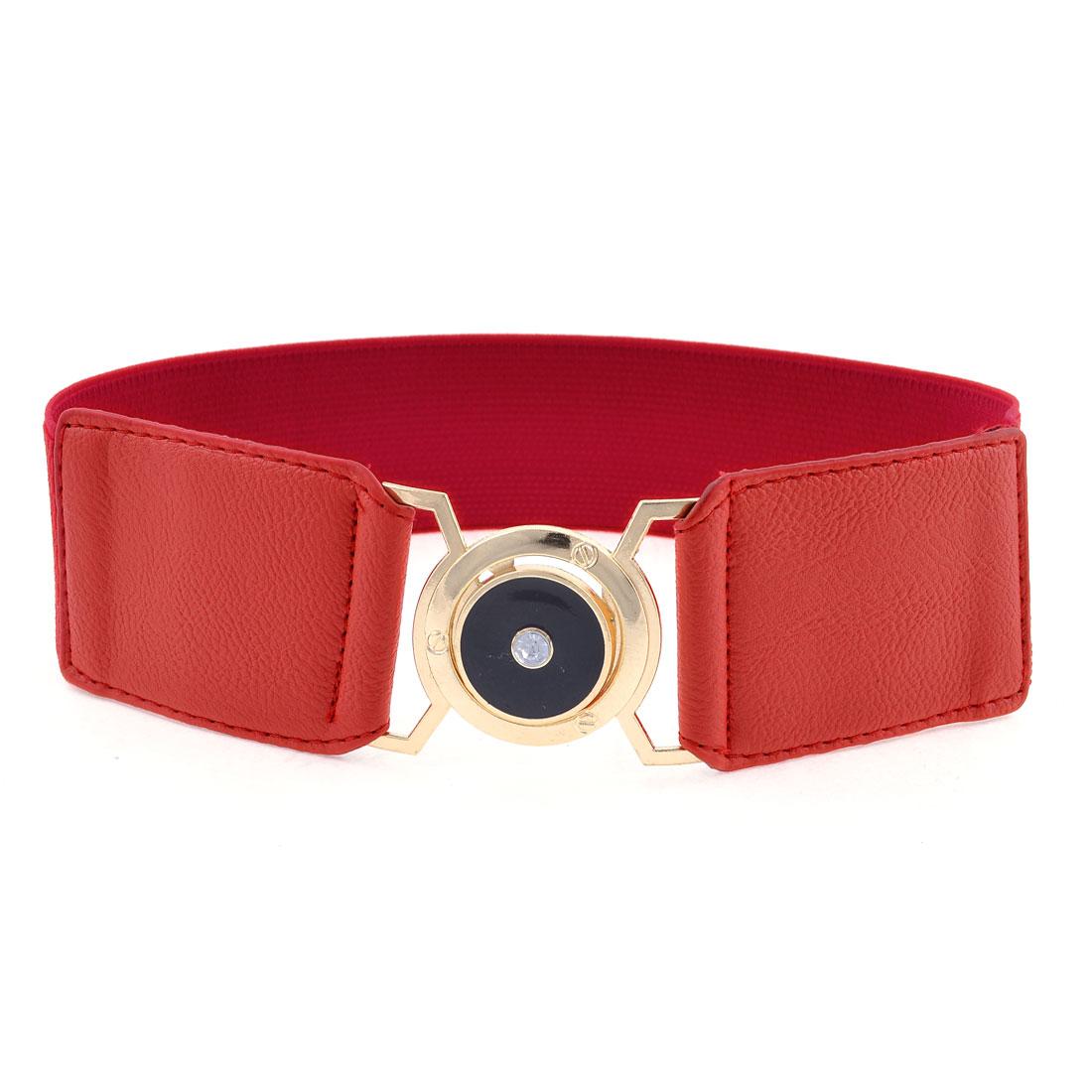 Lady Round Design Metal Interlock Buckle Spandex Cinch Band Waist Belt Dark Red