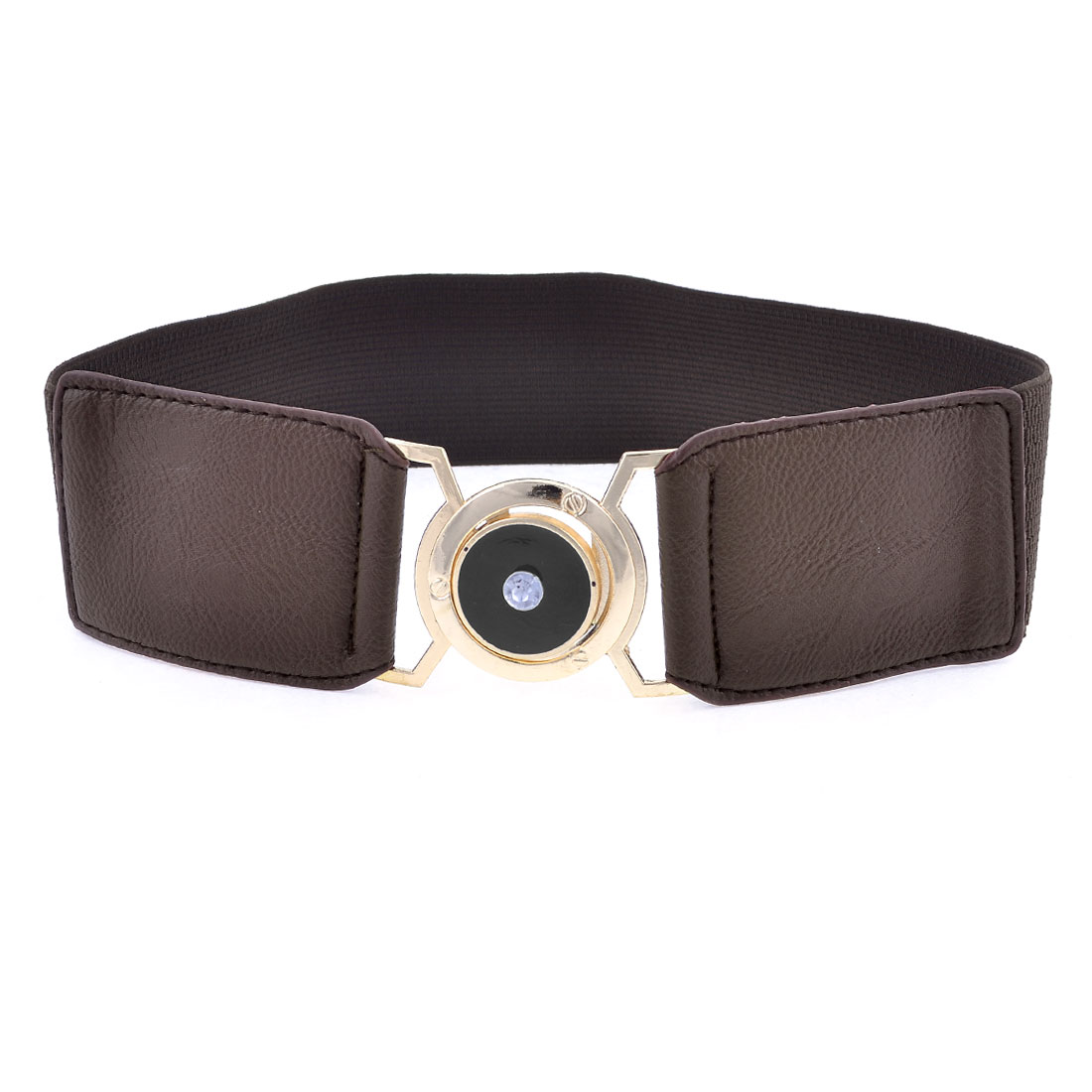 Ladies Round Shaped Metal Interlocking Buckle Stretch Waistband Dark Brown