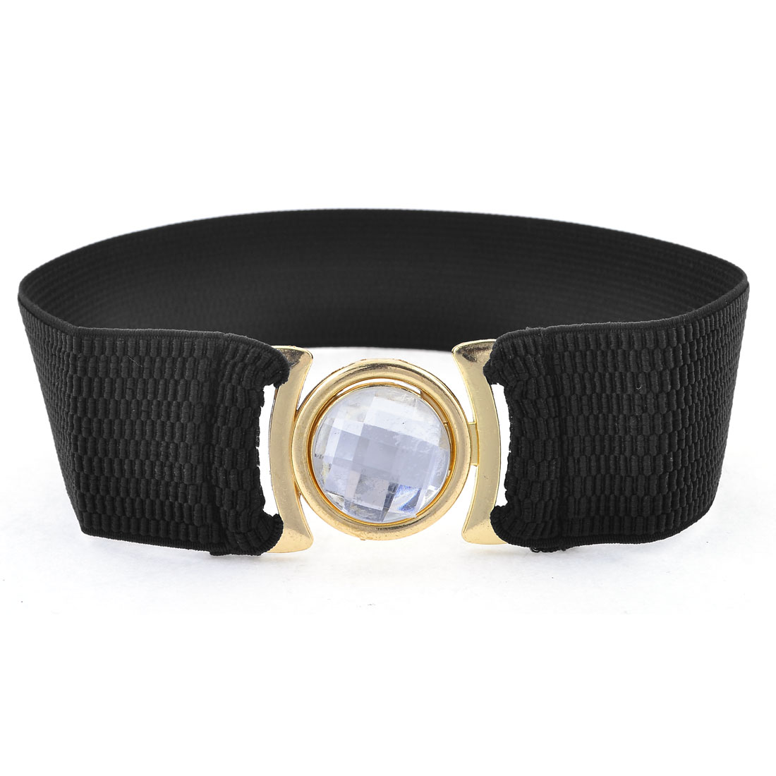 Women Crystal Decor Metal Interlocking Buckle Black Elasticated Waistband Belt