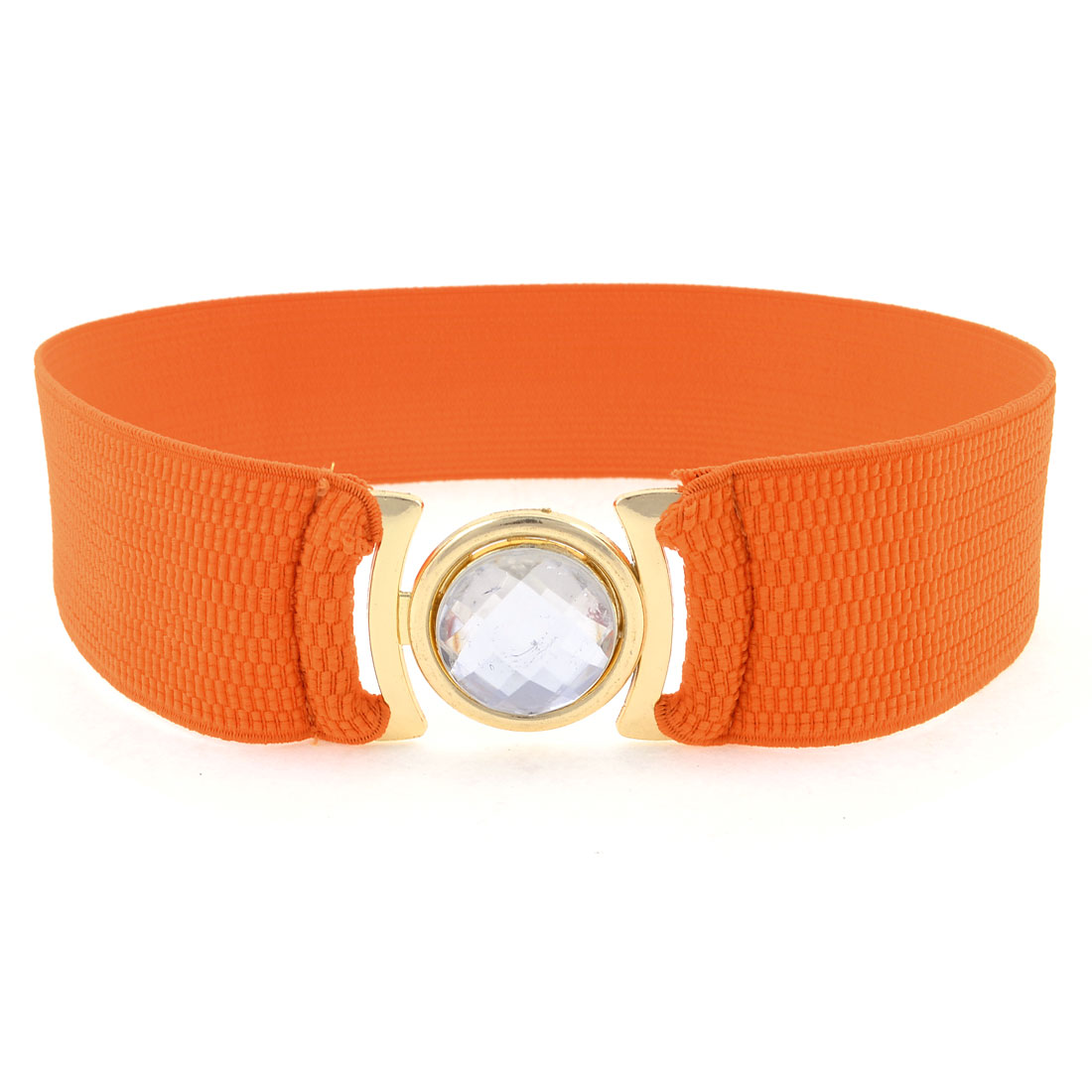 Women Square Metal Interlocking Buckle Stretchy Cinch Belt Waist Band Orange