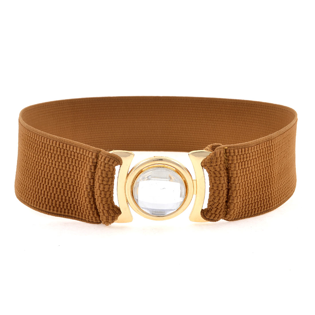 Ladies Metal Interlock Buckle 4.9cm Wide Stretchy Cinch Belt Waist Band Brown