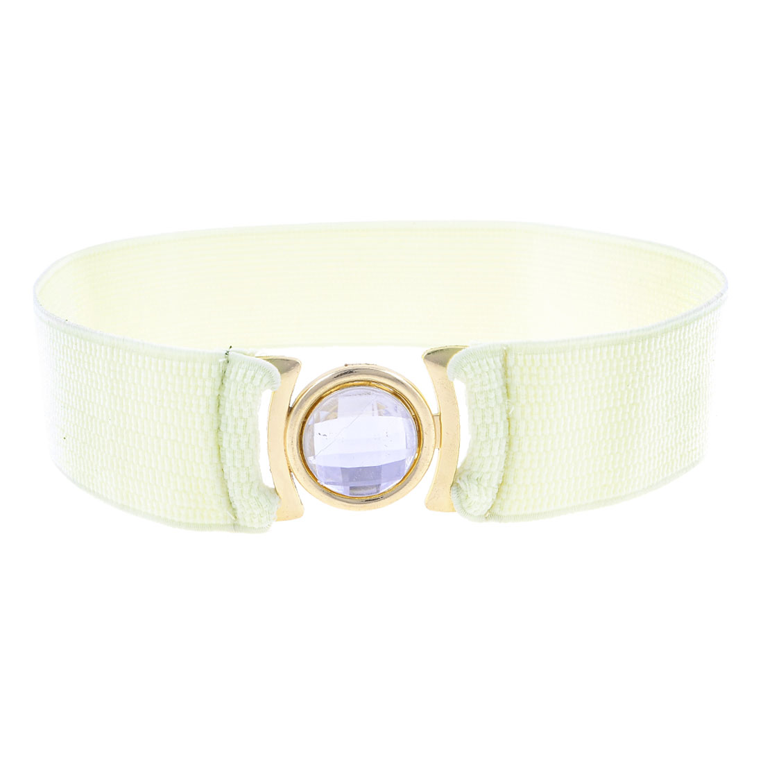 Plastic Crystal Accent Interlocking Buckle Elastic Off White Waist Belt for Lady