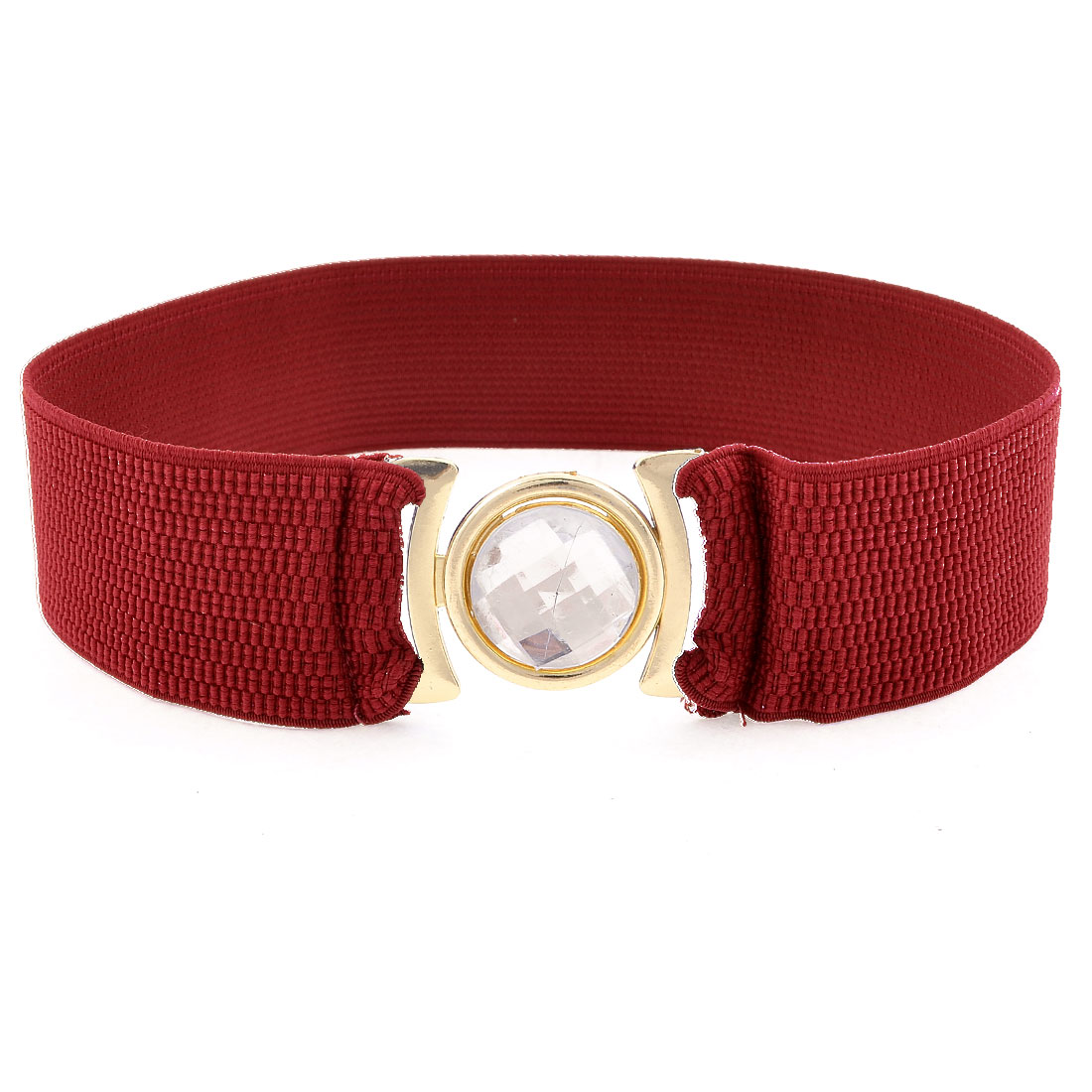 Lady Square Interlock Buckle Closure Elastic Hugging Dress Waist Belt Burgundy