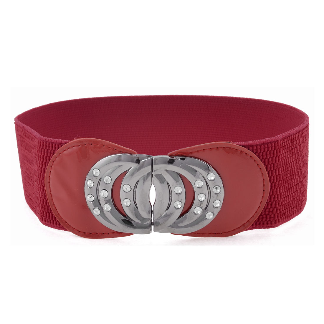 Metal Interlock Buckle 5.9cm Width Stretchy Textured Cinch Belt Red for Women