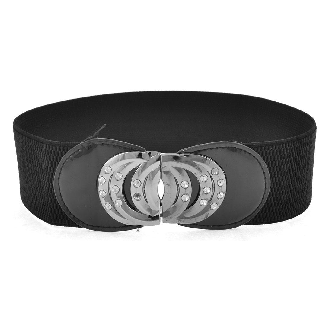 Lady Black Glitter Rhinestone Detail Interlock Buckle Elastic Waist Belt