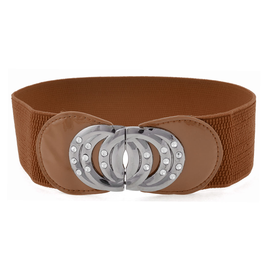Women 5.9cm Wide Metal Interlock Buckle Brown Stretchy Textured Cinch Belt