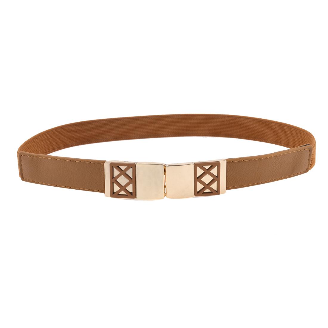 Ladies Rectangular Design Interlock Buckle 2.5cm Wide Brown Elastic Waistbelt