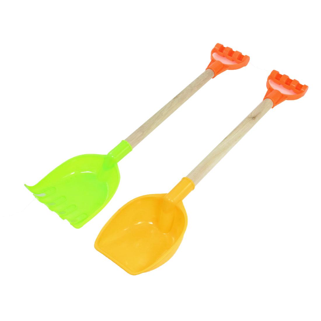 Red Wood Handle Light Green Yellow Plastic Sand Shovel Rake Toy 2 Pcs