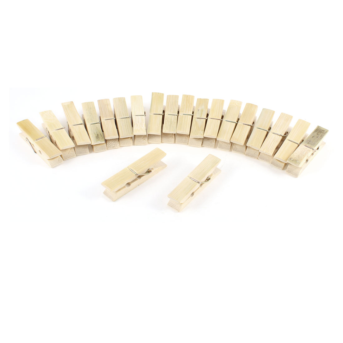 20 Pcs Wooden Color Bedclothes Laundry Coats Bamboo Clips Clamps
