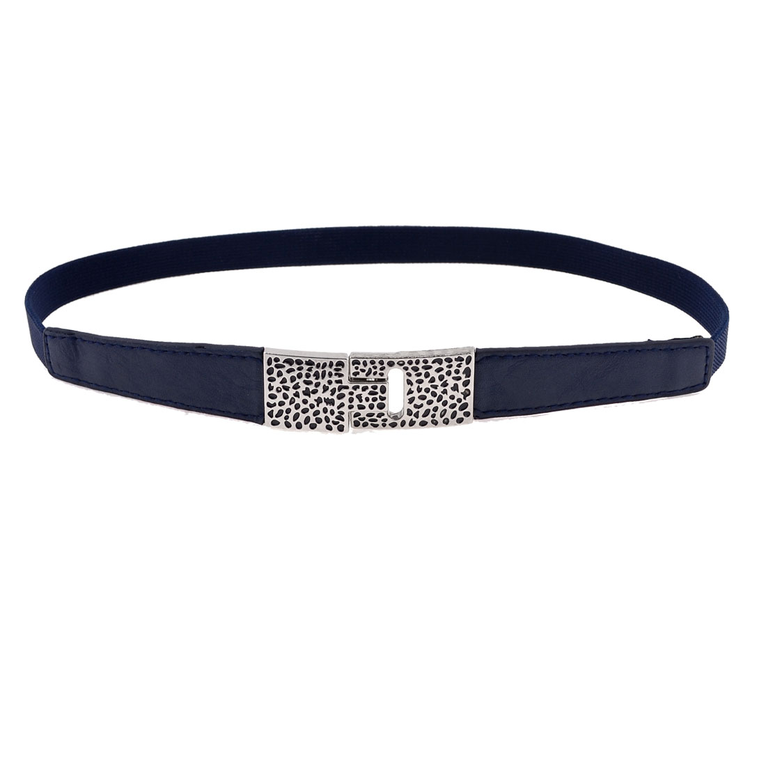 Cobblestones Print Rectangle Shape Interlock Buckle Spandex Waist Belt Navy Blue