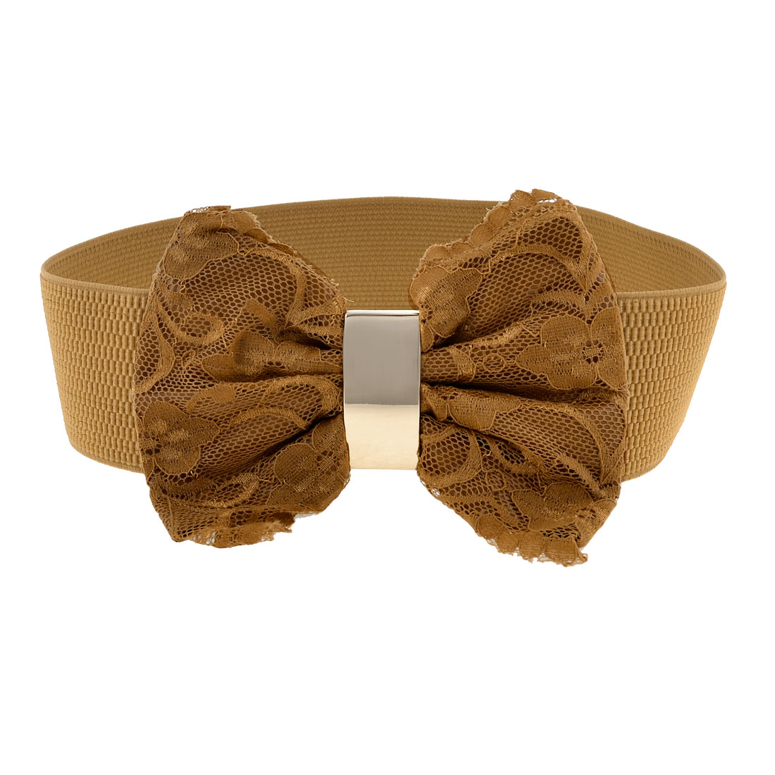 Lady Brown Faux Leather Lace Bowknot Accent Press Stud Button Elastic Waist Belt