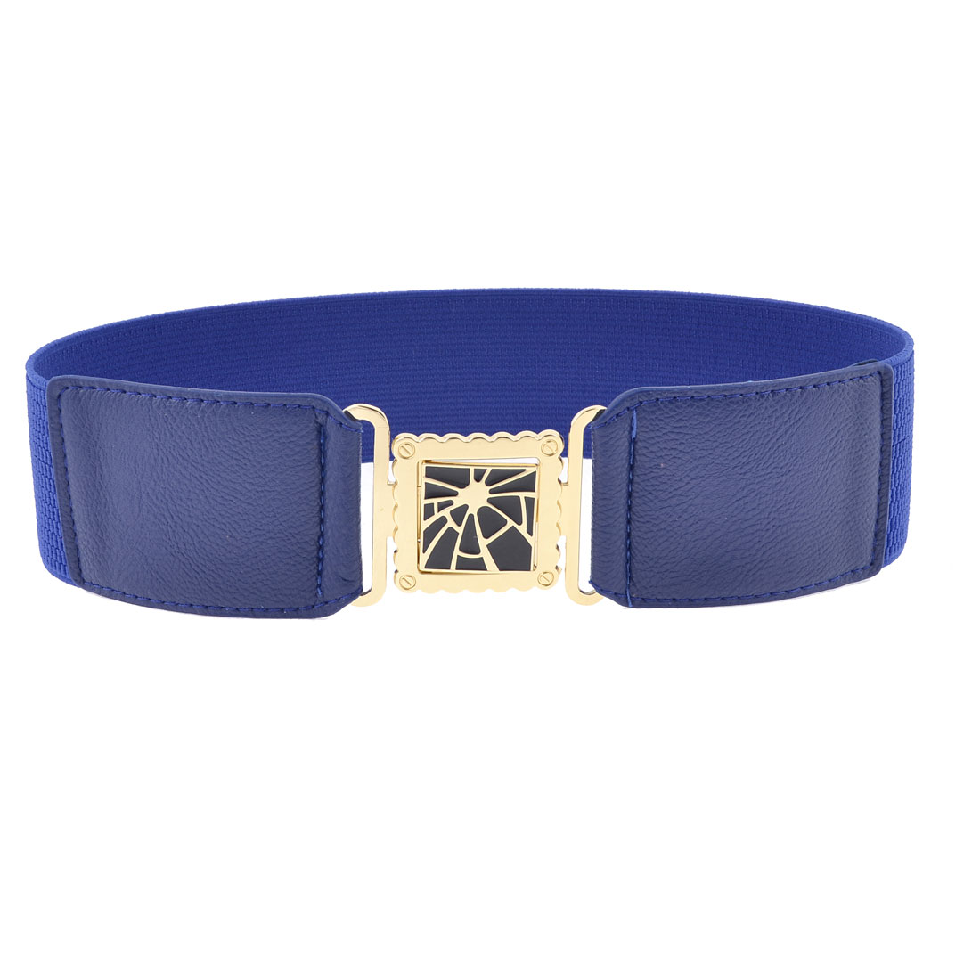 Square Shaped Interlock Buckle Textured Elastic Waist Belt 6cm Width Dark Blue