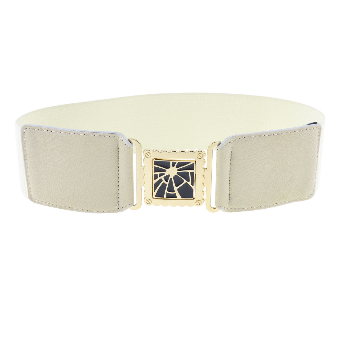 Square Shape Interlocking Buckle 6cm Wide Off White Textured Elastic Waist Belt