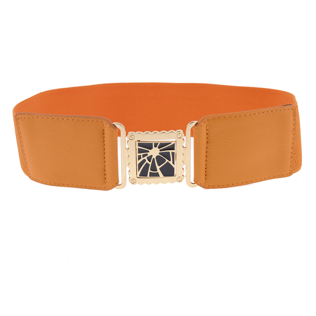 Women Square Interlock Buckle 6cm Wide Orangered Textured Elasticated Waist Belt