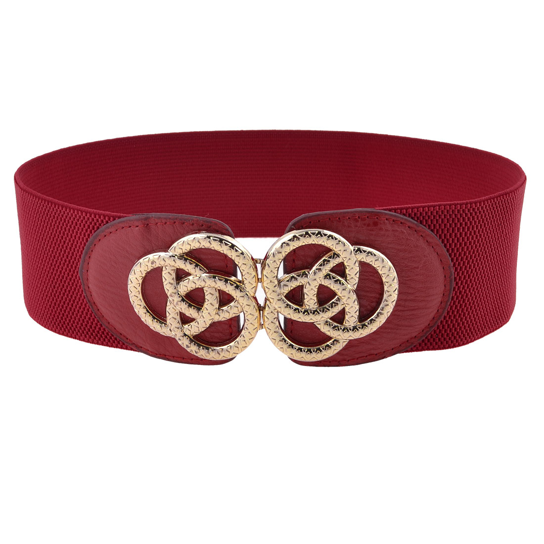 Dark Red Faux Leather Front Ring Interlock Buckle 6cm Wide Waist Belt for Ladies