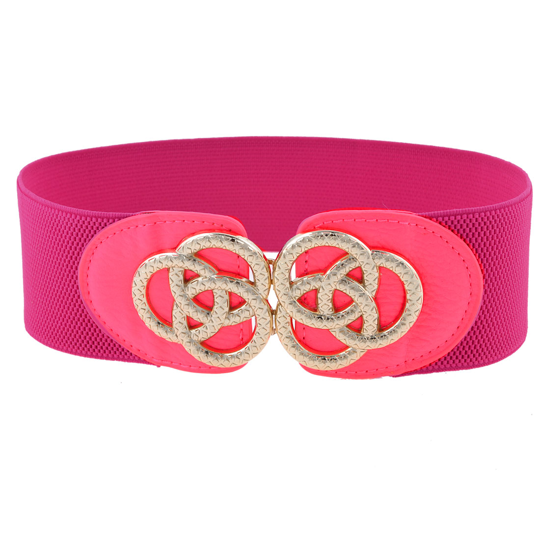 Fuchsia Faux Leather Front Ring Interlock Buckle 6cm Wide Waist Belt for Ladies