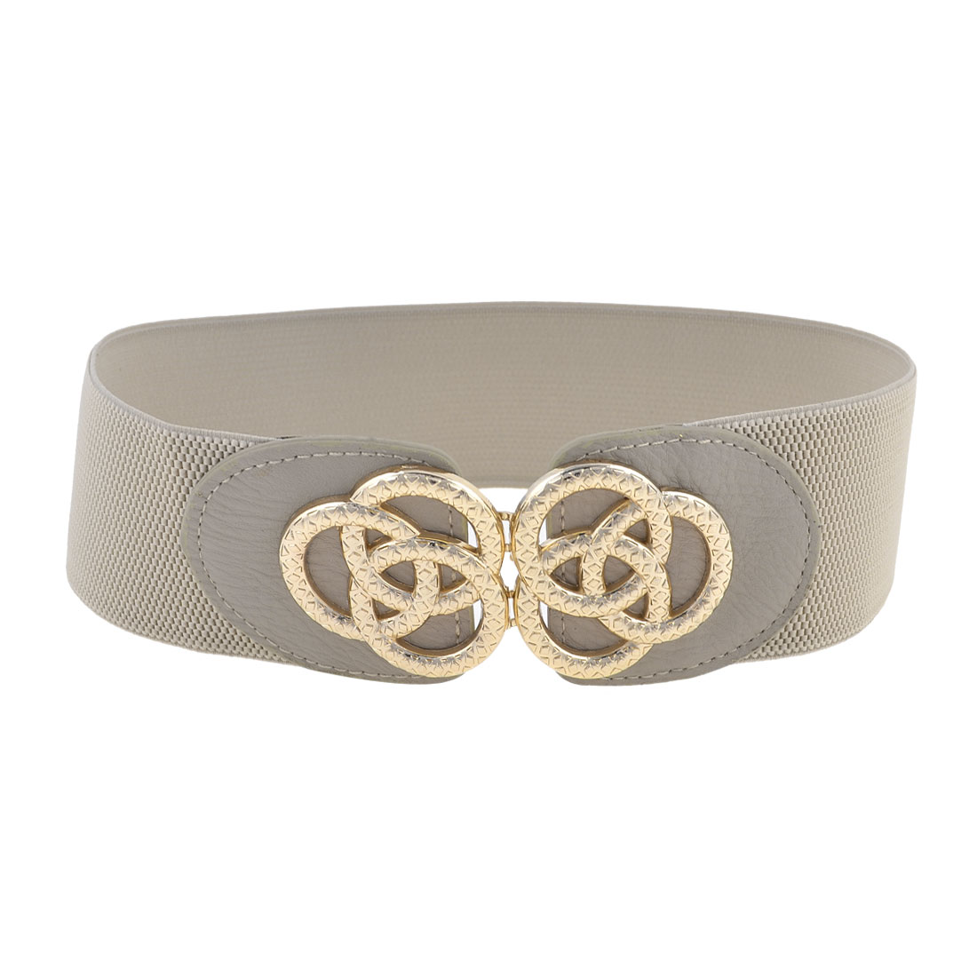 Ladies Rings Shape Metallic Buckle Gray Stretchy Cinch Waist Belt