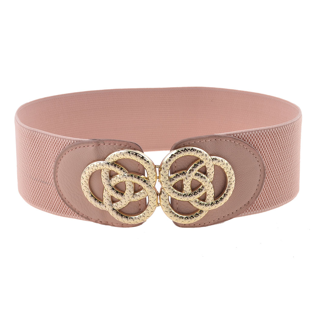 Women Rings Shape Metallic Interlocking Buckle Spandex Cinch Waist Belt Pink