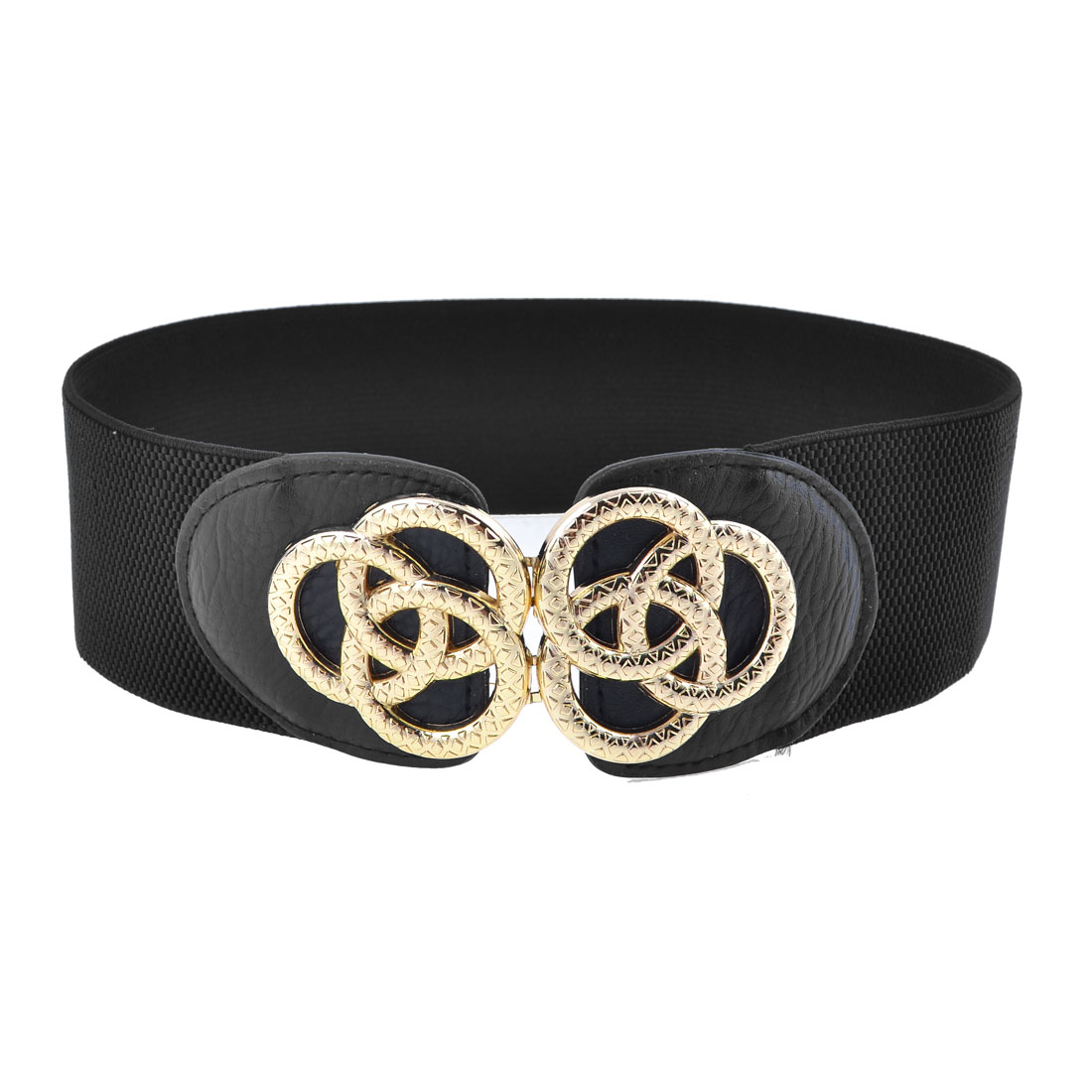 Women Metal Linked Rings Interlocking Buckle Spandex 6cm Wide Waistband Black
