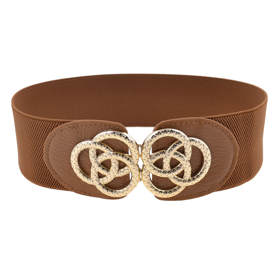 Lady 6cm Width Band Metal Linked Ring Interlock Buckle Elastic Brown Waistband