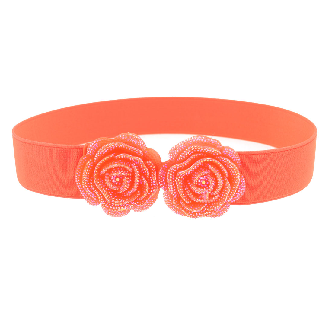 Women Plastic Dual Rose Flower Accent Hook Buckle Stretch Waist Belt Salmon Pink