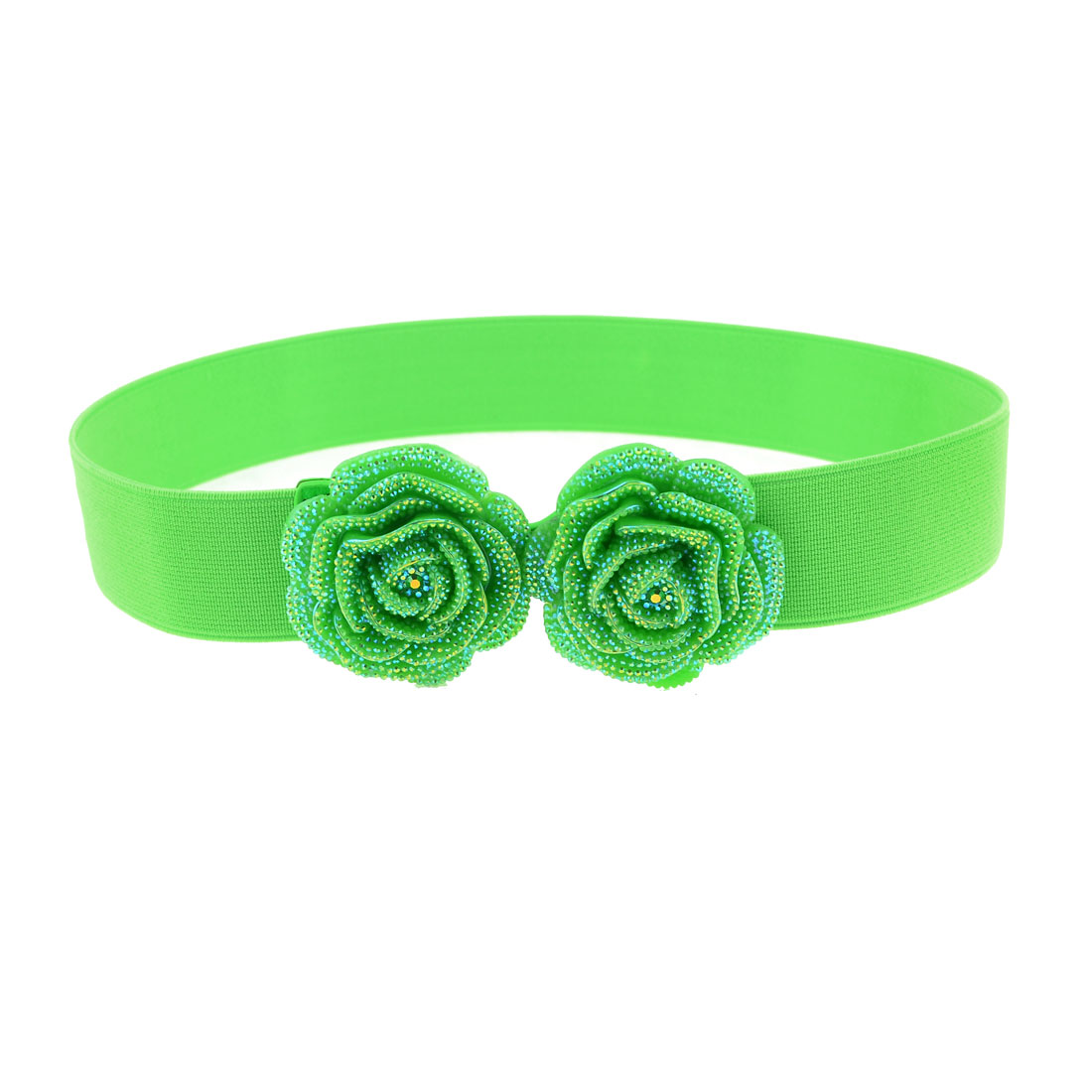 Lady Lime Green Glitter Double Rose Floral Decor Hook Buckle Flexible Waist Belt
