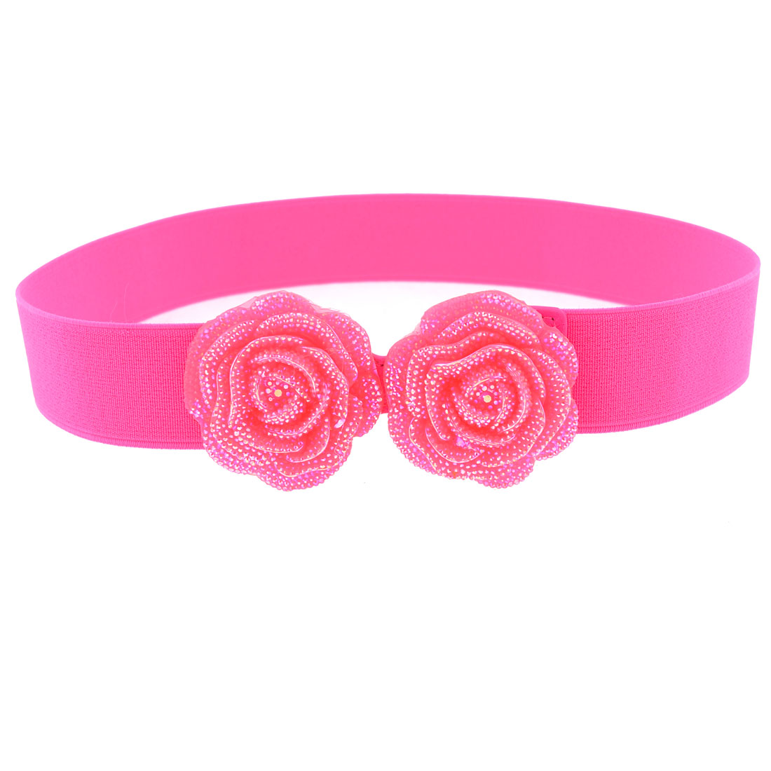 Bling Dual Rose Flower Accent Hook Buckle Hot Pink Stretch Waist Belt for Lady