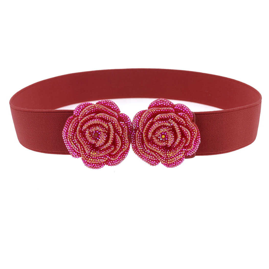 Ladies Red Plastic Double Roses Floral Accent Hook Buckle Elastic Waist Belt