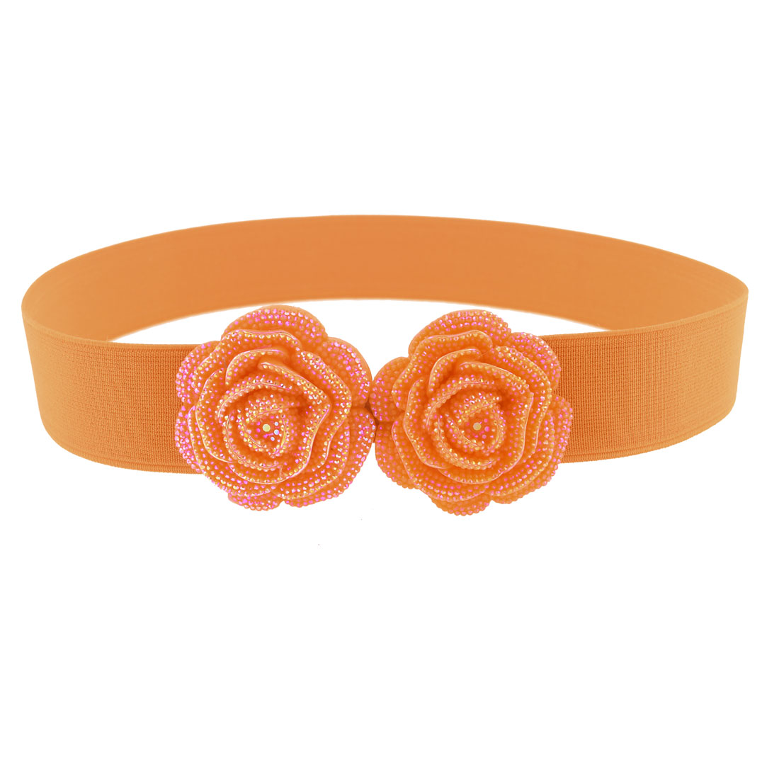 Women Glittery Double Roses Floral Detail Hook Buckle Elastic Waist Belt Orange