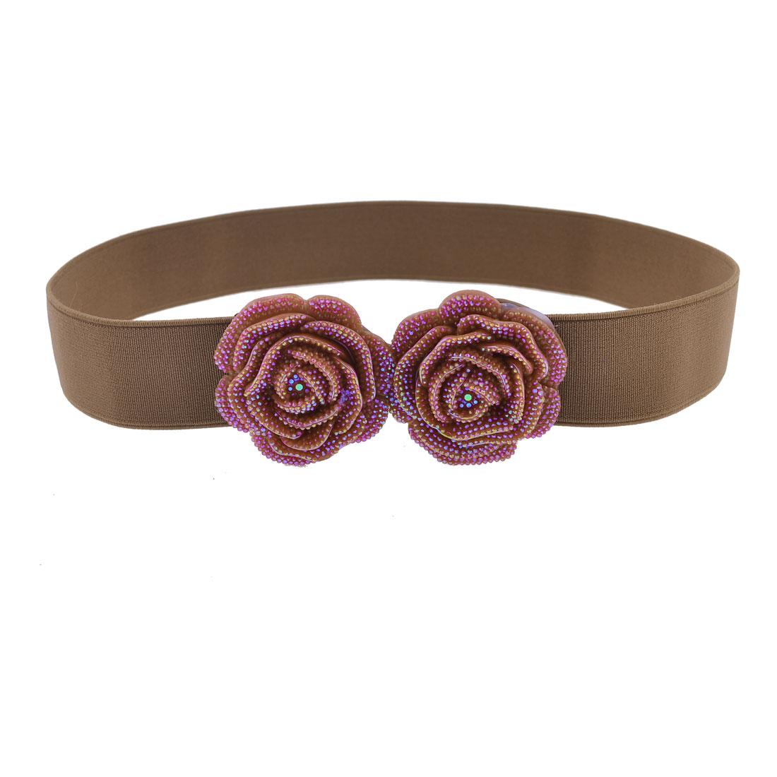 Dark Brown Plastic Dual Roses Accent Hook Buckle Elastic Waist Belt for Women