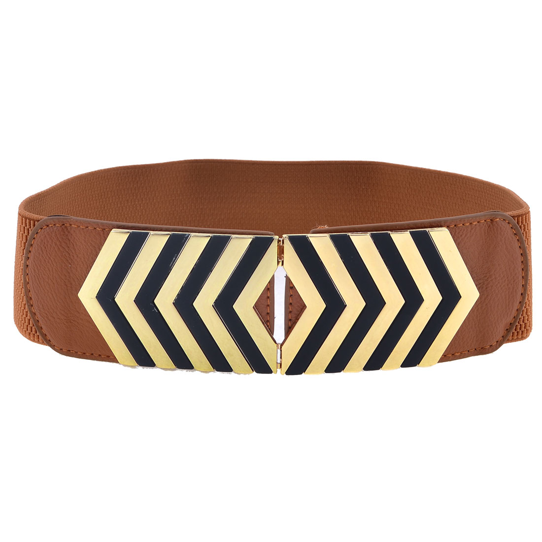 Women Brown Arrows Design Metal Interlocking Buckle Textured Elastic Waist Belt