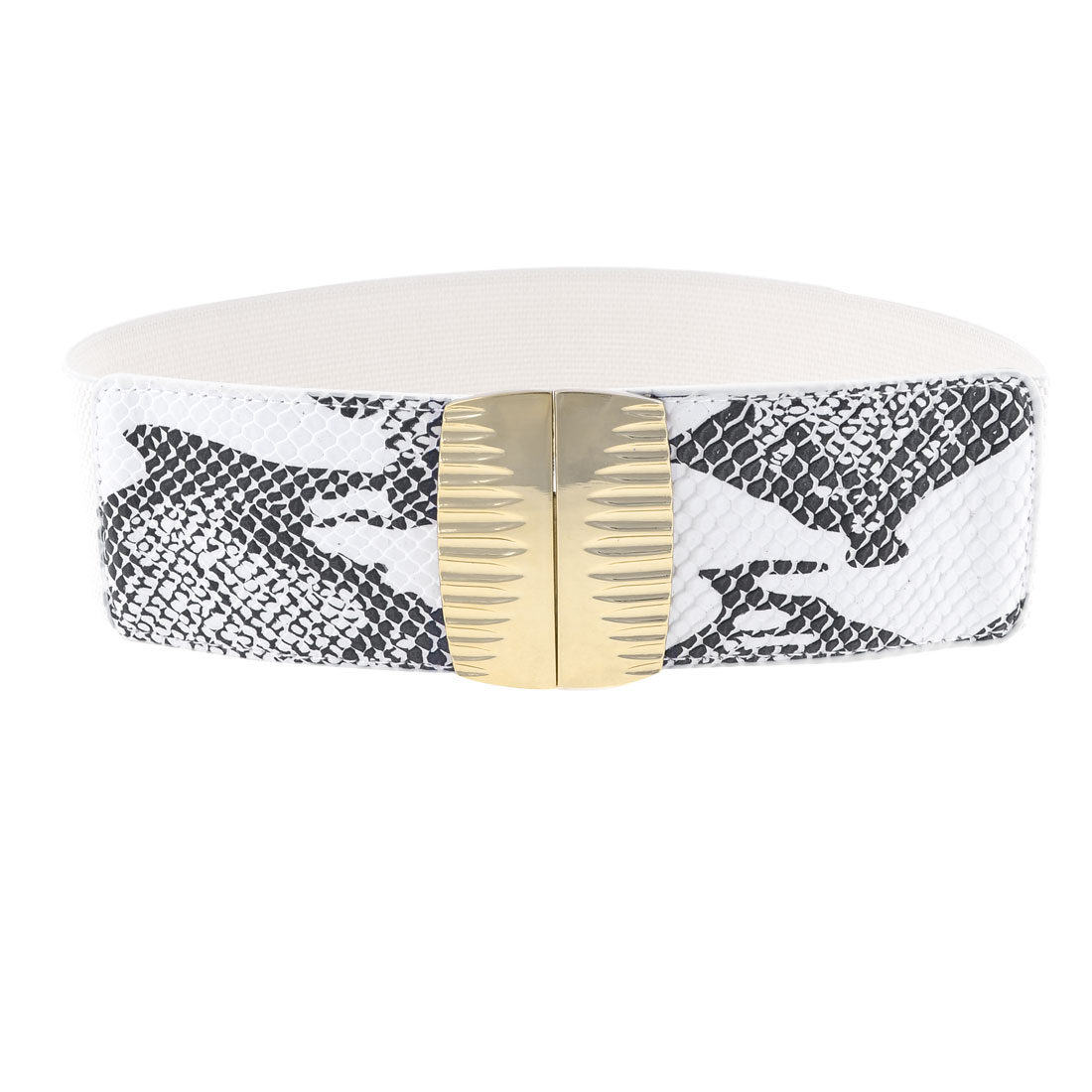 Lady Metal Interlocking Buckle Snake Pattern Stretchy Waist Band Belt White
